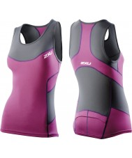 2XU WT2321A-CHR-UVT-XS Mesdames charbon et ultra compression violet singlet tri - taille xs