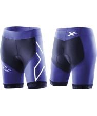 2XU WT2322B-NVY-NTB-XS Ladies marine et aurores boréales compression bleu tri short - taille xs