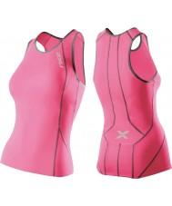2XU WT2851A-SPK-CHC-L Performance pour femmes synthétique rose tri singlet - taille l