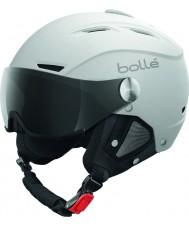 Bolle 31255 Backline visière douce casque de ski blanc et argent avec visière gris - 56-58cm