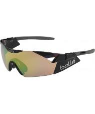 Bolle brillant modulateurs noir des lunettes de soleil brun émeraude 6ème sens