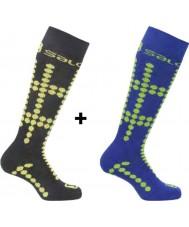 Salomon 355971-BLAYELGRN-XS équipe Kids juniors chaussettes noires et jaunes Pack 2 - taille xs (uk 6,5-9)